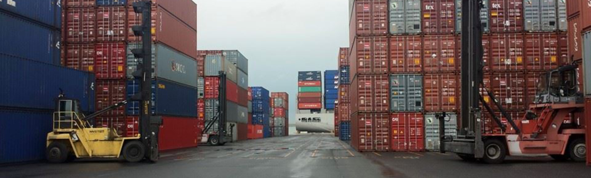 stacks of intermodal containers